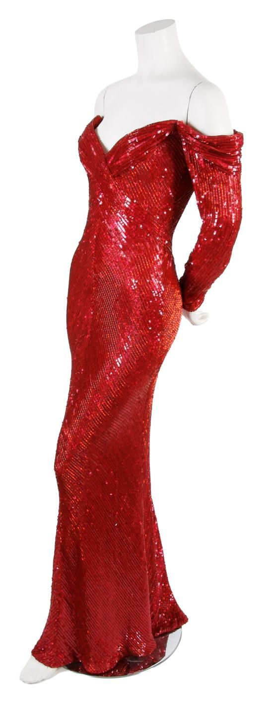 A Bob Mackie Red Sequin and Beaded Evening Gown, 1980s, extremely fitted throughout with full length sleeves, off the shoulder sweetheart neckline