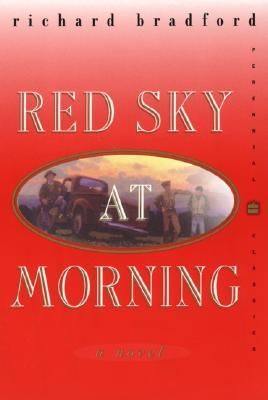 "Red Sky at Morning is a 1968 novel by Richard Bradford. The book follows Josh Arnold, a young man whose family relocates to Corazon Sagrado, New Mexico during World War II. It was regarded as a ""true delight"" (Washington Post Book World) and a ""novel of consequence"" (New York Times Book Review). Today, it is still regarded as a classic coming-of-age story. The title of the book comes from a line in an ancient mariner's rhyme, ""Red sky at morning, sailor take warning."""