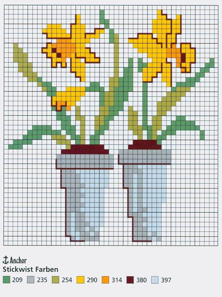 Daffodil free cross stitch pattern from www.coatscrafts.pl