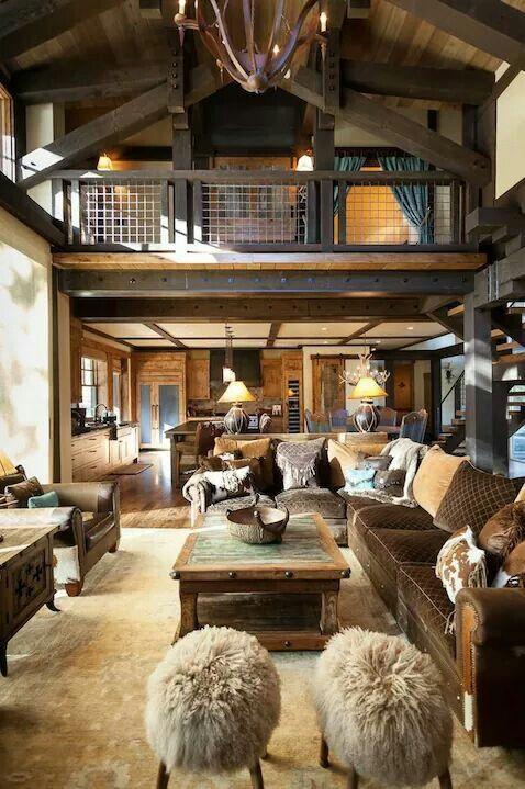 Haus Interieurs, Rustikale Innenräume, Holzhütten, Wohnträume, Lodge Stil,  Haus Interieu Design, Wohnideen, Deko Ideen, Stühle