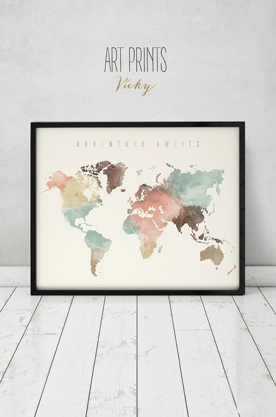 Adventure awaits, World map art, Large Travel map, World map wall art watercolor print, Gift decor, pastel, Home Decor, ArtPrintsVicky