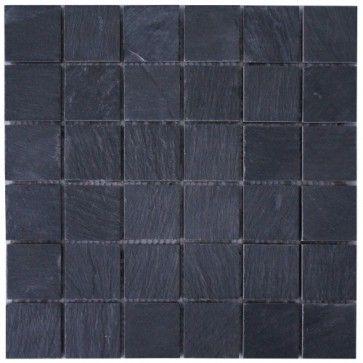 Mozaïek tegel leisteen 30x30 cm | Kleur: Antraciet zwart | Geschikt voor badkamer, toilet, douche,keuken, woonkamer, slaapkamer, hal | Topmozaiek24