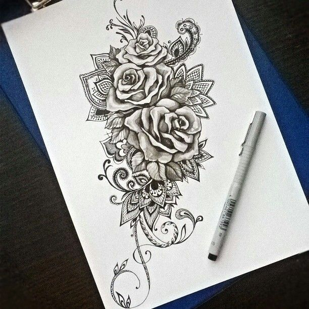 I am thinking single rose with many of these elements ♥