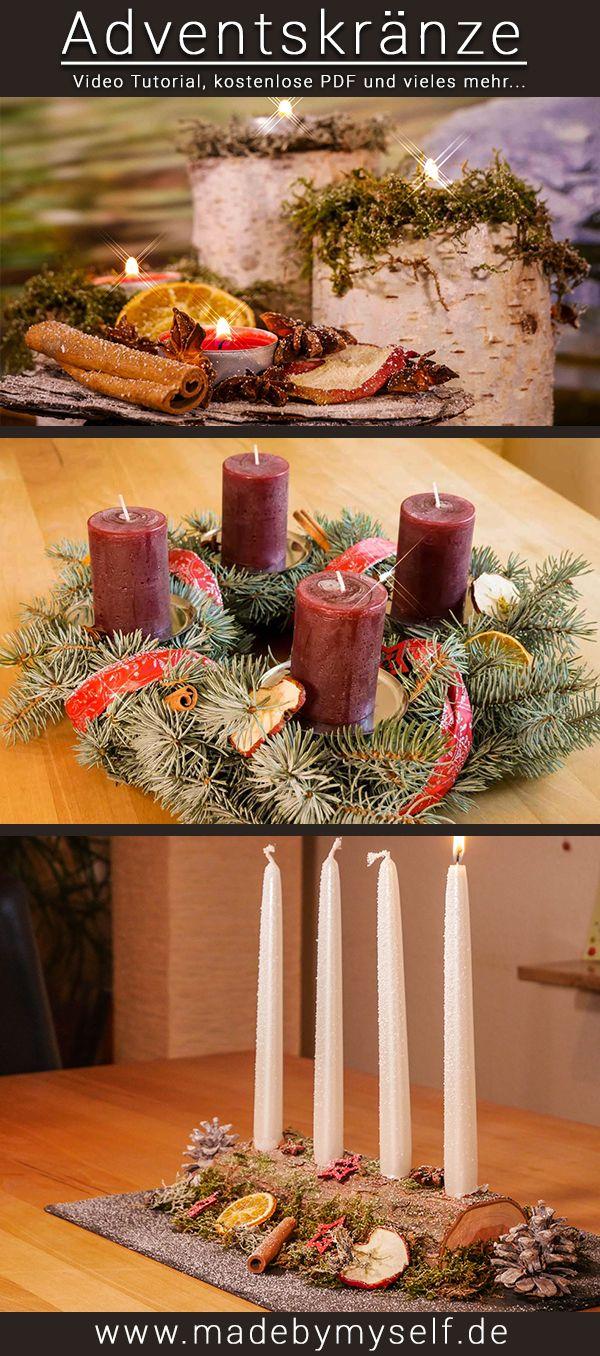Einen DIY Deko Advenzkranz oder Advenzgesteck ganz einfach, günstig und doch wunderschön selber machen! Alle Video Tutorials und PDF Anleitungen zum Download nun auf meinem Blog - Starte jetzt deine eigene Weihnachtsdeko www.madebymyself.de #weihnachten #Weihnachtsdeko #Adventskranz #advent #weihnachten2017 #diy #selbermachen #doityourself