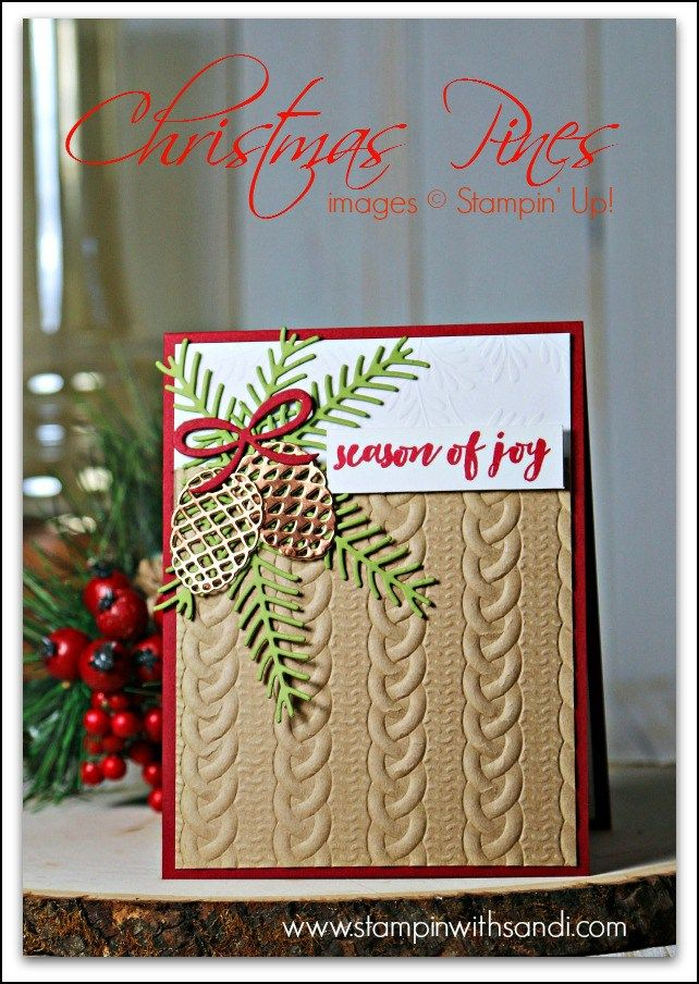 Cable Knit Dynamic Embossing Folder card by Sandi @ www.stampinwithsandi.com