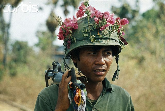 Government soldier. Since the Lon Nol coup in March 1970, two groups fought for control of Cambodia - the Khmer National Armed Forces (FANK), supported by the USA, and the Army of the Republic of Vietnam (ARVN), pitted against the Cambodian People's National Liberation Armed Forces (composed of Maoist nationalists and Khmer Rouge communists), supported by North Vietnam and the Vietcong. --- Image by © Patrick Chauvel/Sygma/Corbis