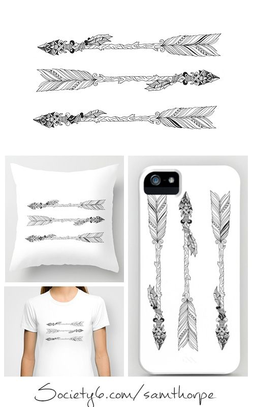 Arrow Tattoo Design. Phone covers, Pillows, Bags, T-shirt and more Purchase: http://society6.com/samthorpe Follow me: https://www.facebook.com/pages/ST-Illustrations/292448024146314