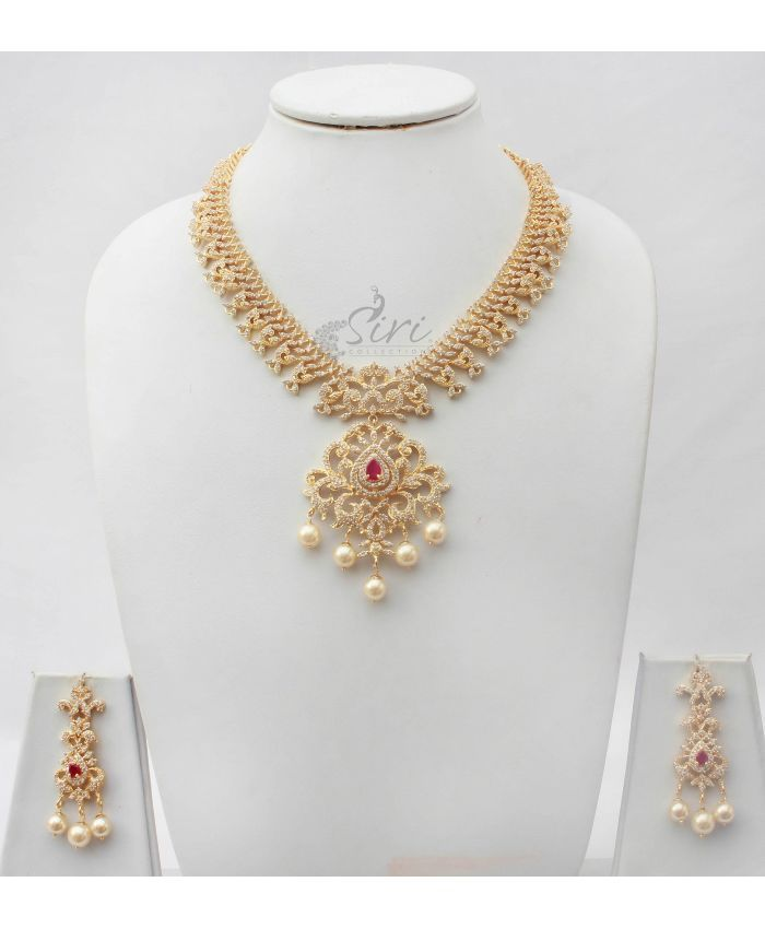 Heavy Short Necklace set in ADs