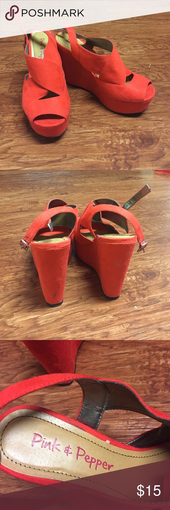 Coral wedges only worn once Coral wedges only worn once!! Shoes Wedges
