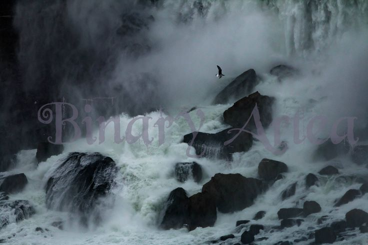 Waterfall Paused- Landscape, Color, Nature Photography, Niagara Falls, Digital Download, Art by BinaryArtea on Etsy