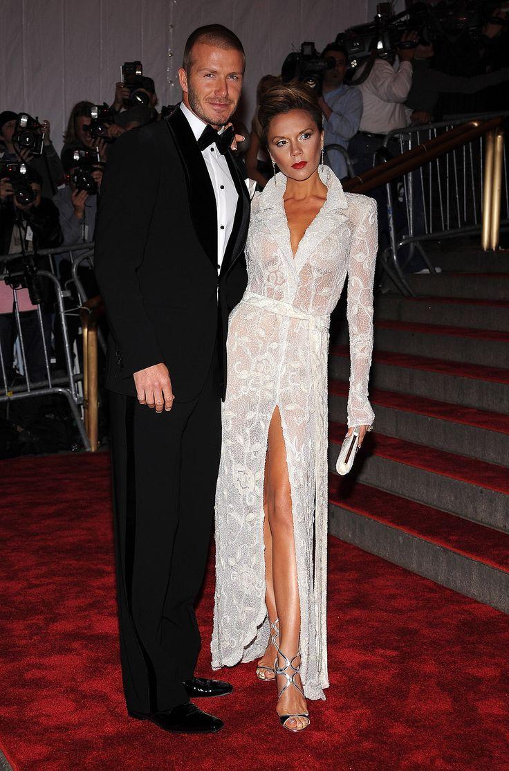 Victoria Beckham sported white Giorgio Armani to the 2008 gala, striking a sexy pose with husband David.