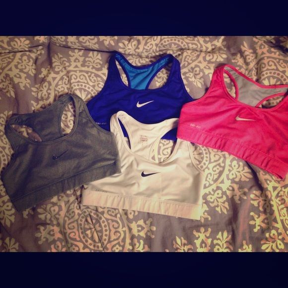 Nike bra collection All S or XS- the pink is a medium. Will sell separately for $15 each Nike Intimates & Sleepwear Bras