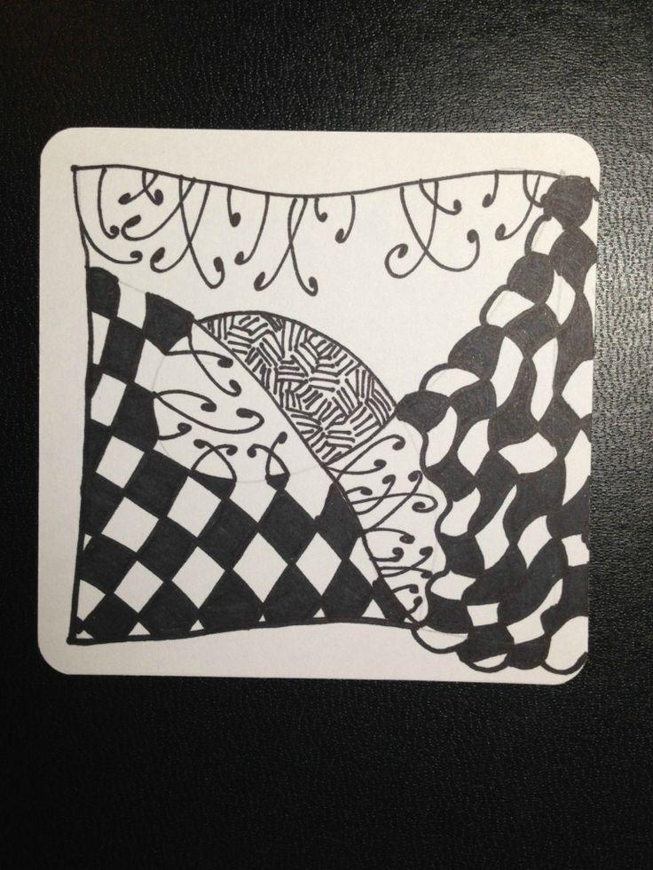 "Zentangle #13.  Sept 6 2014 ""One Zentangle A Day"" day 2- nekton, knightsbridge, fescu"