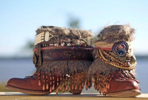 Aangepaste upcycled REWORKED vintage BOHO laarzen festival