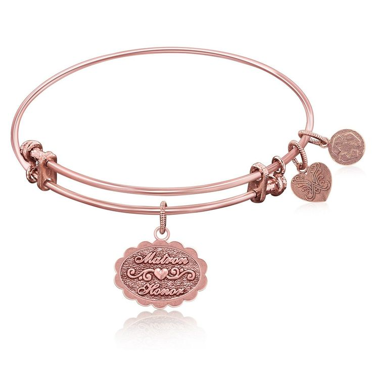 Expandable Bangle in Pink Tone Brass with Matron Of Honor Symbol