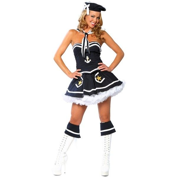 Flirty Sailor Costume ($69) ❤ liked on Polyvore featuring costumes, ladies halloween costumes, sexy womens costumes, womens sailor halloween costume, ladies costumes and sexy women halloween costumes