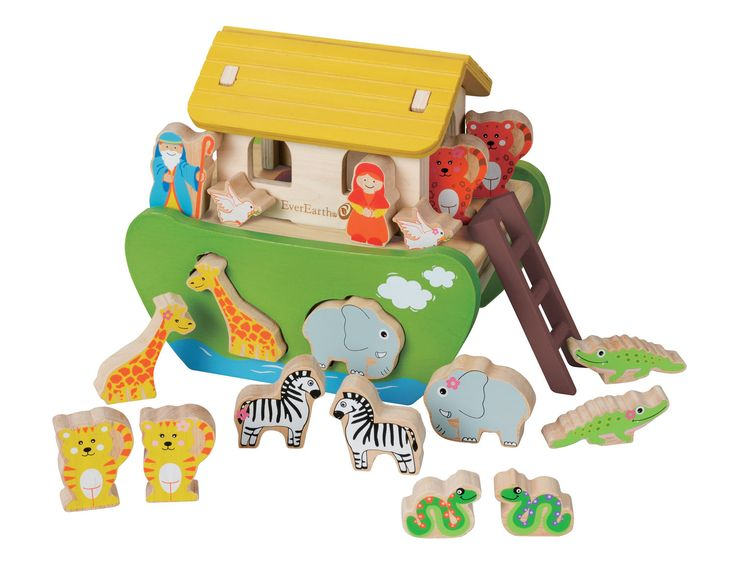 Evereart  Shape Sorting Noah's Ark  They'll learn about consideration and care for others with traditional stories from the Bible. Includes large ark, Noah doll, his wife, ladder and eight pairs of lively animals, which fit into the ark. Ideal for improving shape recognition and learning about the animal kingdom.   Outer Dimensions  L: 24.00cm W: 17.40cm H: 20.20cm