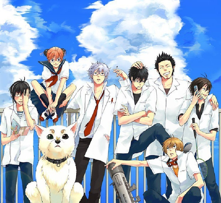 Gintama Gakuen ~~~ Everybody is chilli' on the roof.