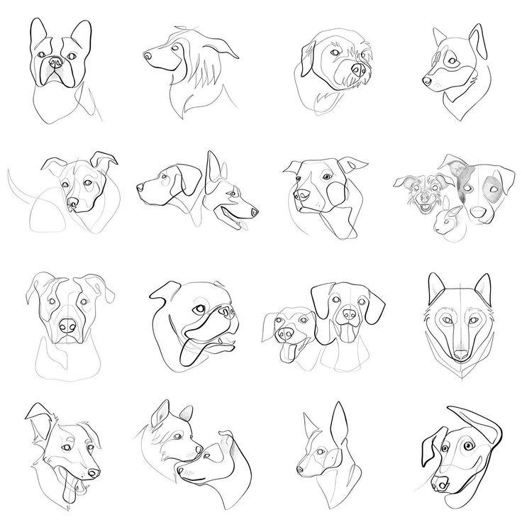 Pferd Kunstdruck / Poster, Hund Kunstdruck / Poster, Tier Wandkunst, abstrakte Wandkunst, minimalistischen Kunstdruck / Poster, schwarz / weiß Kunst, Original-Künstler, One Line Art
