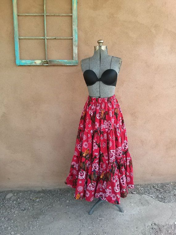 Vintage 1990s Skirt Tiered Western Cowboy Bandana by bycinbyhand