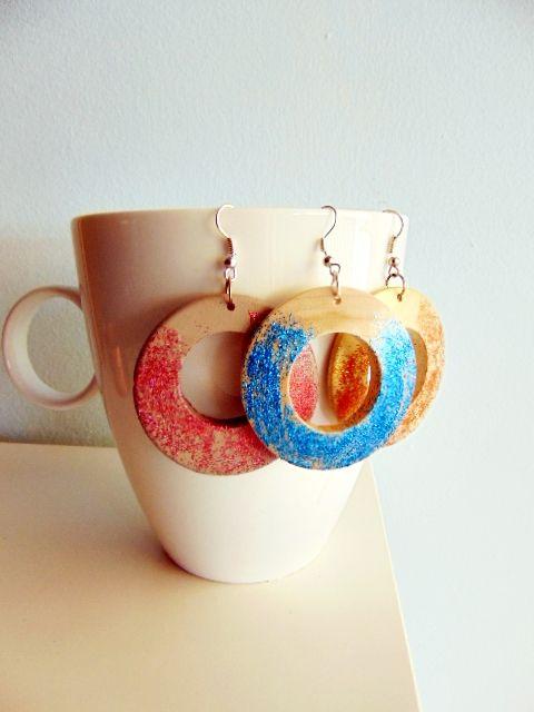 Glitter earrings at www.jamjar.gr/product/14628/pink-copper-sand