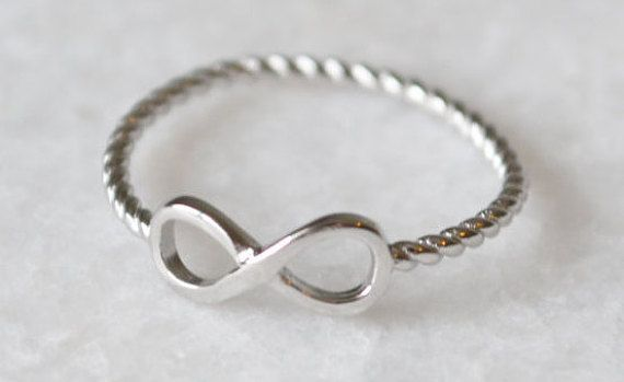 Sterling Silver Infinity Ring With Twisted Rope Band by ShopZYLA