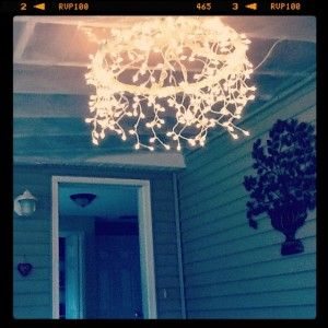 Hula Hoop Chandelier -- this is such a great idea AND I have a hula hoop already!