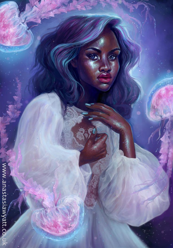 Black Women Art! – anastasiawyattart:   Jellyfish   By Anastasia... ❤️ IG: TheHeartShow         SC: Beauty_Jasmine  Pintrest:HeartBreaker94 ❤️