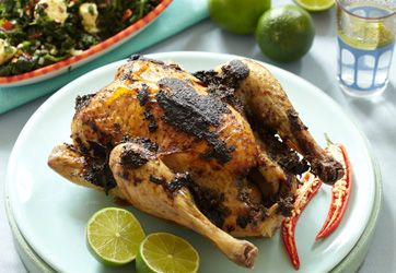 Opskrift| Jerk kylling med spinat | Lav en helstegt kylling med en smagfuld Jerkmarinade