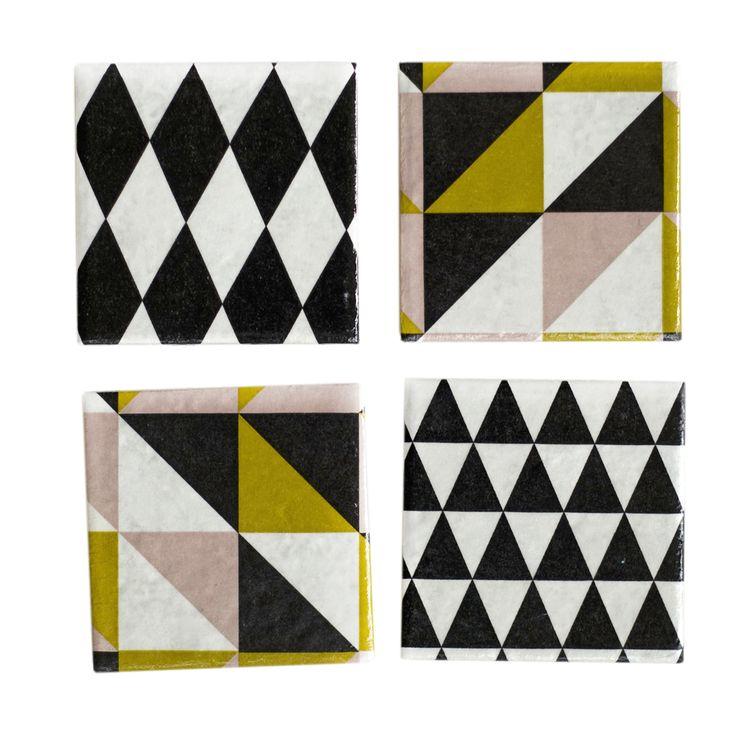 Geometric Ceramic Coasters Set of 4