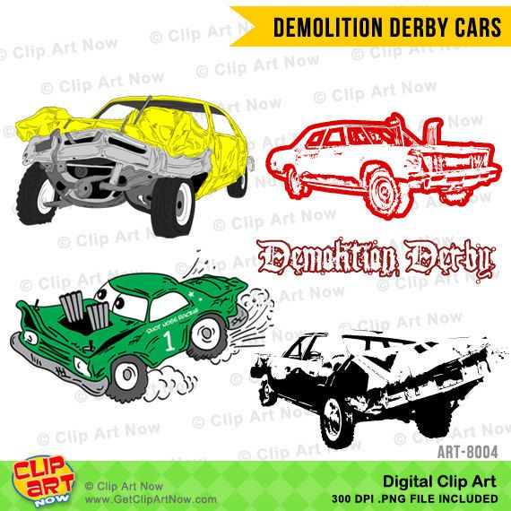Demolition Derby Cars Digital Clip Art by ClipArtNow. This digital Clip Art set includes 7 Demolition Derby Cars and 1 title. Each clip Art is saved separately as a high resolution PNG file with a transparent background (Approx. 3000x3000 pixels each at 300DPI).