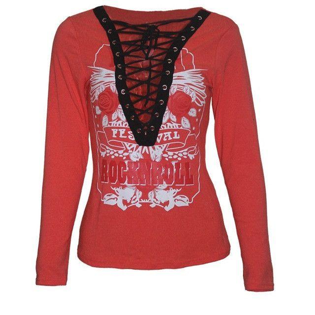 Sexy Shirt 2017 Fashion Womens Punk Deep V Neck Lace Up Long Sleeve Tops Flowers Print Slim Shirt Autumn Winter Blouse