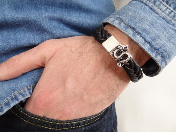 EXPRESS SHIPPINGBraided Leather BraceletBlack High Quality