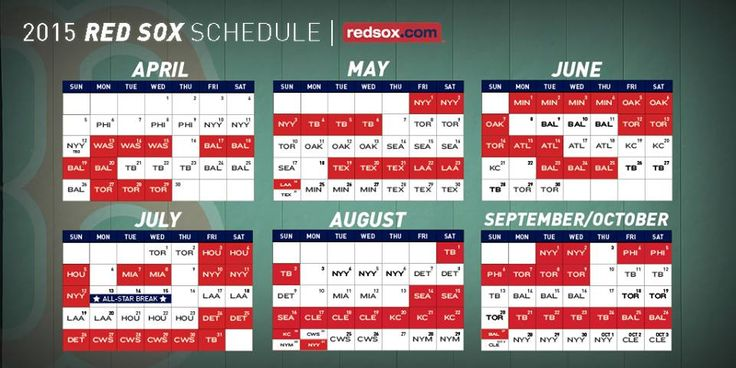 Red Sox 2015 schedule