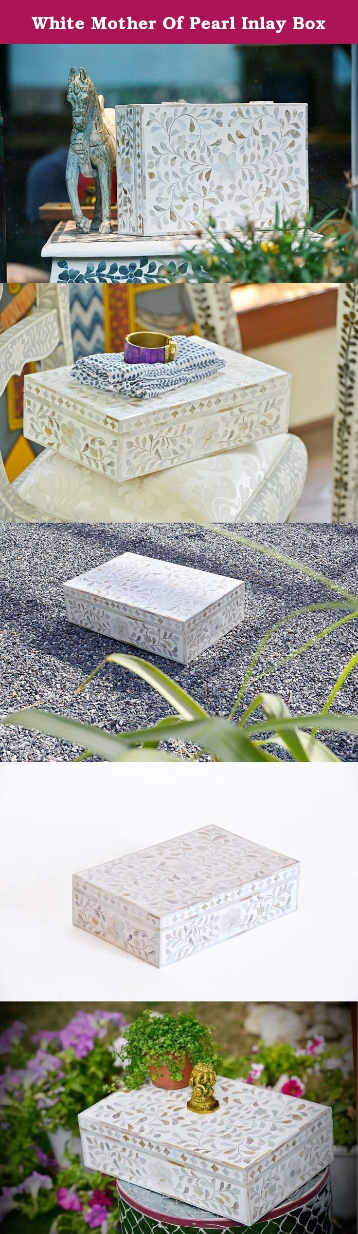 White Mother Of Pearl Inlay Box. Our white mop in floral leafy pattern is embellished from mop and intricately inlayed into wooden box to create beautiful detailing. The mother of pearl gives a beautiful soothing contrast against white colored resin. They are perfect piece to bring home or gift for your loved ones. The magical pearly texture would create that heavenly aura into your space. Size: 35cm L x 23cm W x 10cm H ABOUT THE ART OF INLAY The art of inlay is specific to Udaipur. Here...
