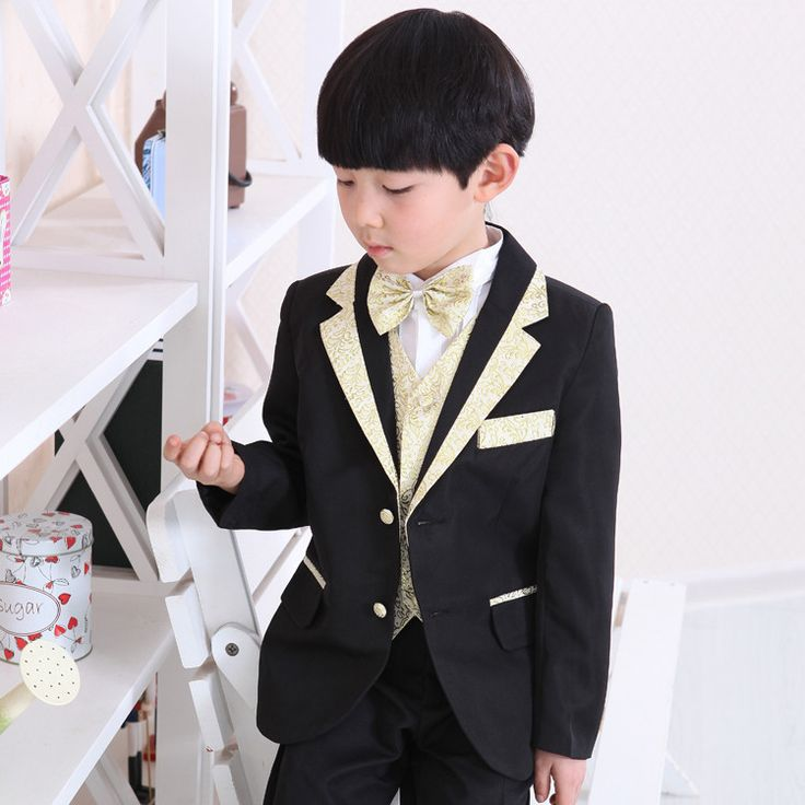 free shipping wedding communion toddler suits for boys black with gold formal tuxedo suit 7 pieces set