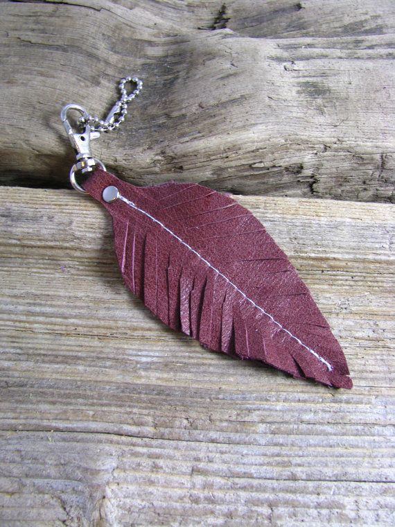 Leather Bag Charm Leather Zipper Pull Leather Key Chain Leather Feather Jewelry Key Fob on Etsy, $10.00