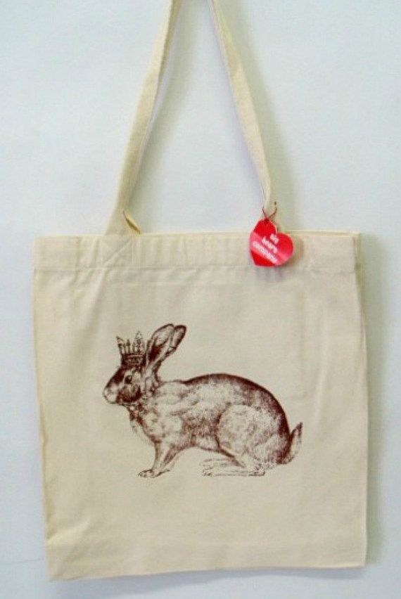 Crown Bunny Tote Bag by BigHeartCompanyUK on Etsy