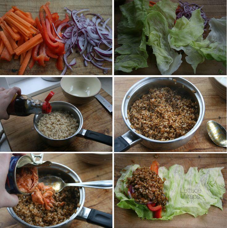How to - Lettuce Wraps -Find my recipe at www.facebook.com/budgethealth and www.healthyeatingonastudentbudget.wordpress.com