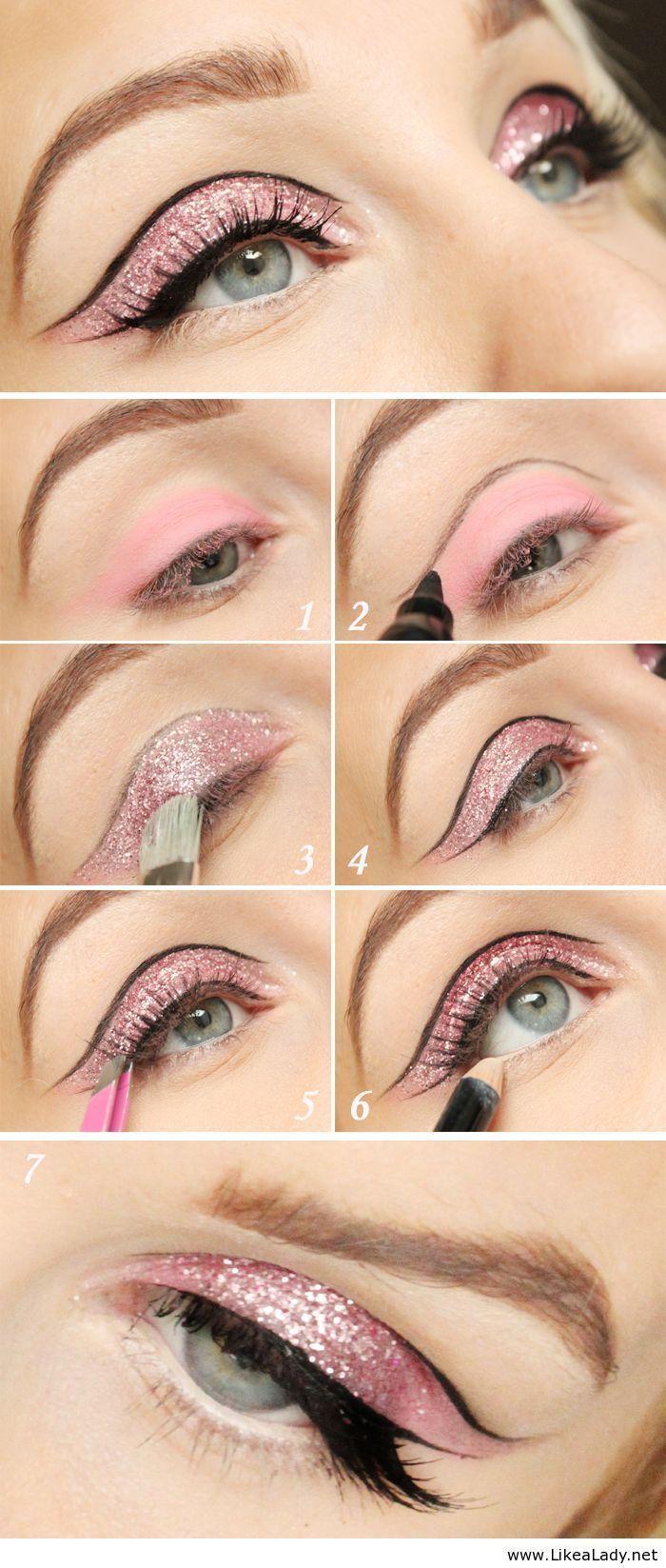 Pink Glitter CatEye in Motives Eye Shadow(Heiress), Eye Pencil and Glitter Pots(Jewel Pink)! #Jewel #Sparkle #Color