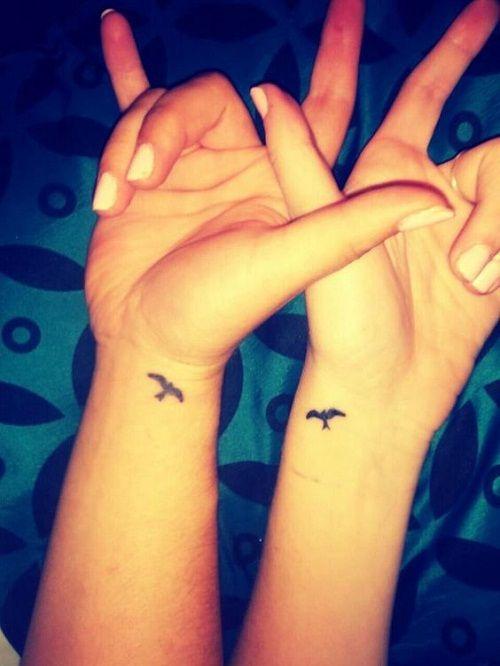 Small Bird on Wrist Best Friend Tattoos