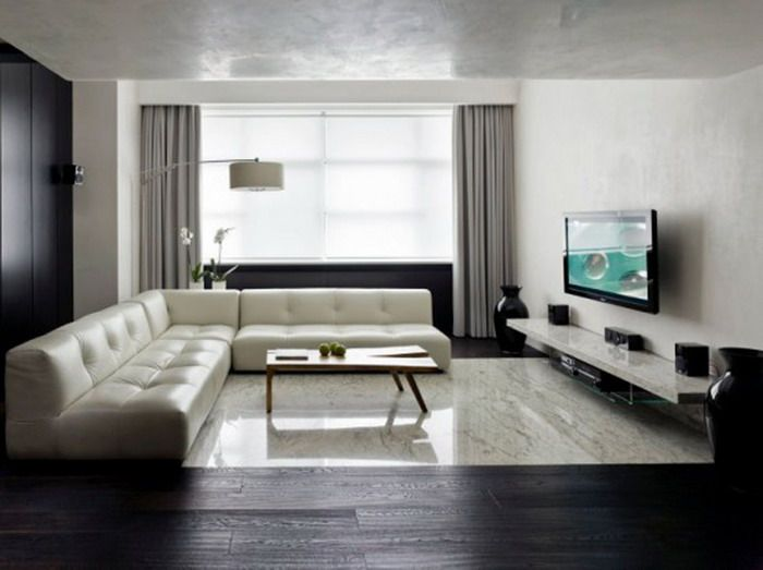 Long Narrow Apartment Living Room With Tv