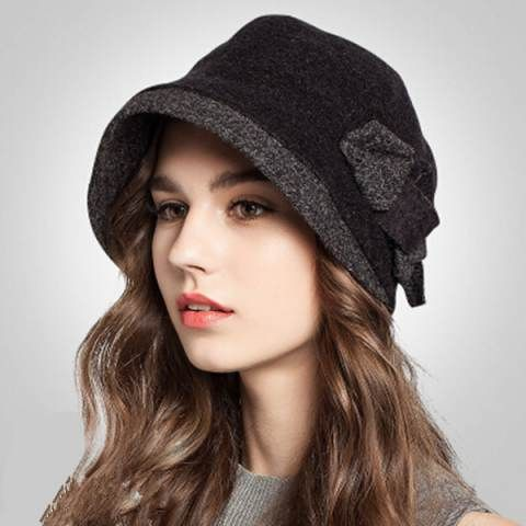 16325de83711f Bow bucket hat for women 2015 fashion cashmere winter hats