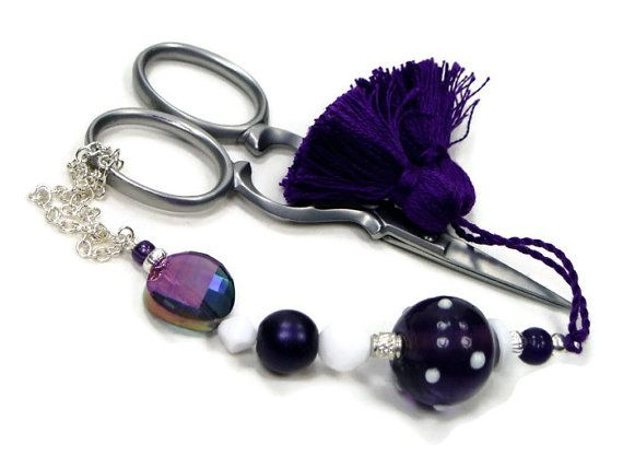 Scissor Fob Beaded Purple White Cross Stitch by TJBdesigns on Etsy, $18.00
