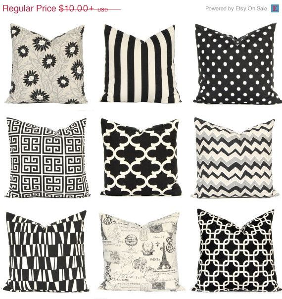 SALE Black Pillow Covers Black Cushion Covers by FestiveHomeDecor
