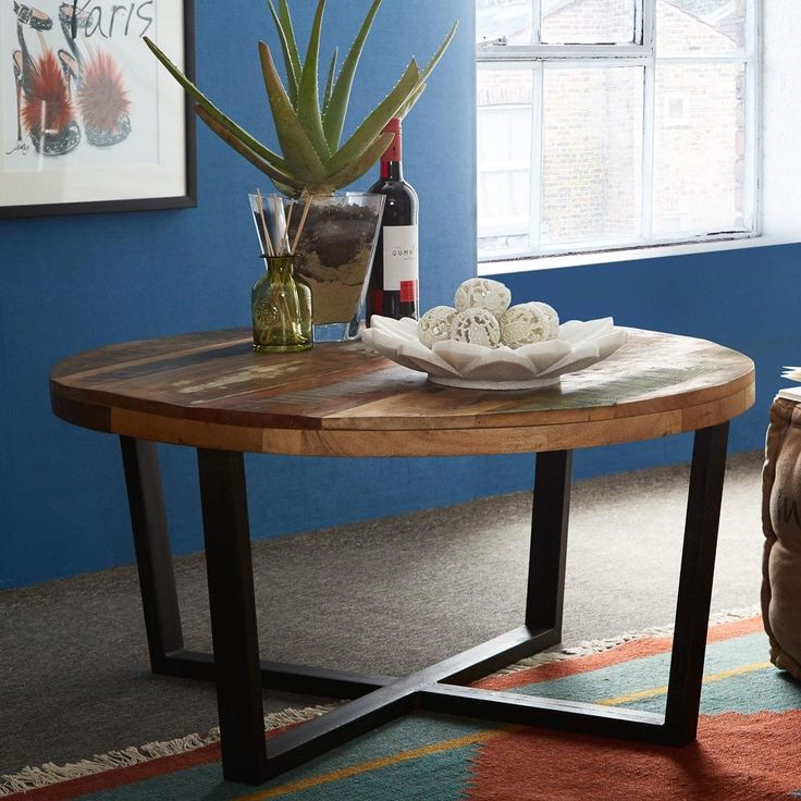 Coastal Industrial Reclaimed Round Wood Coffee Table With Metal Legs