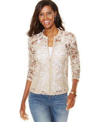 Gorgeous!!!  INC International Concepts Petite Faux-Leather-Trim Lace Jacket