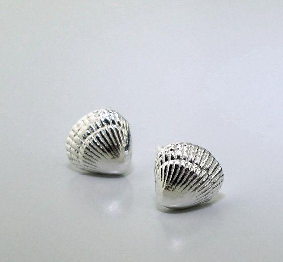 Tiny Silver Sea Shells  stud earrings in by KathrynRiechert, $28.00