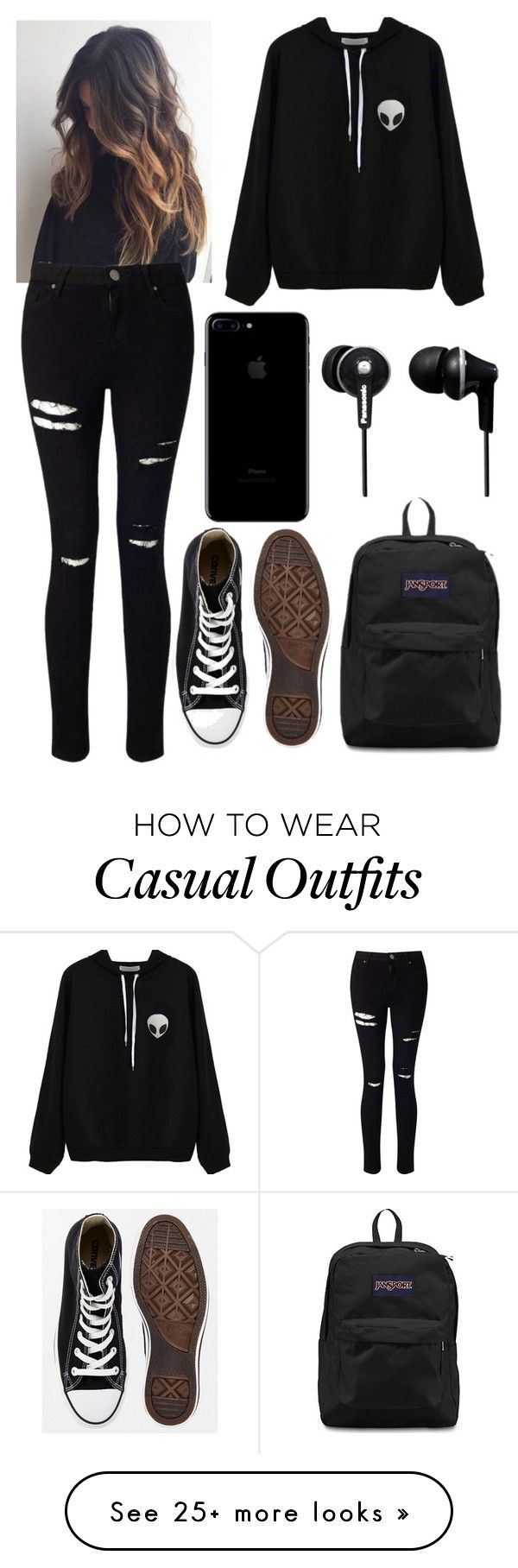 """Casual School"" by kellyaguilera on Polyvore featuring Converse, Miss Selfridge, JanSport, Panasonic, casual, school, black and emo"
