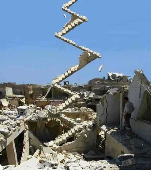 primpit: Stairway to Heaven. Left After Assad Bombing in Aleppo